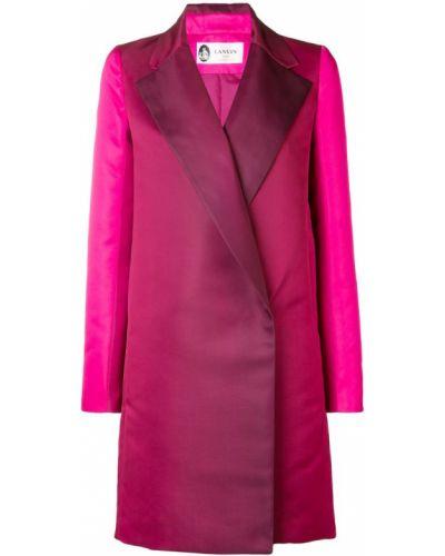 Розовое длинное пальто с капюшоном Lanvin