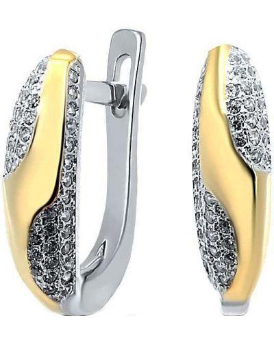 Серебряные серьги позолоченные золотые Silver Wings