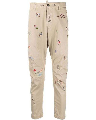 Beżowe spodnie casual z printem Dsquared2
