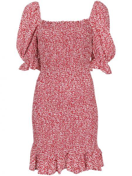 Красное платье мини с оборками с манжетами квадратное Auguste