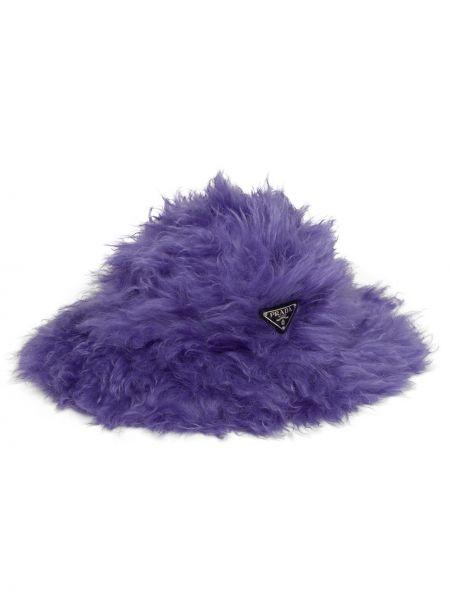 Fioletowy kapelusz bawełniany Prada