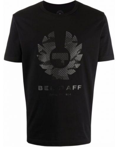 T-shirt z printem - czarna Belstaff