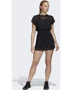 Черное спортивное теннисное платье Adidas