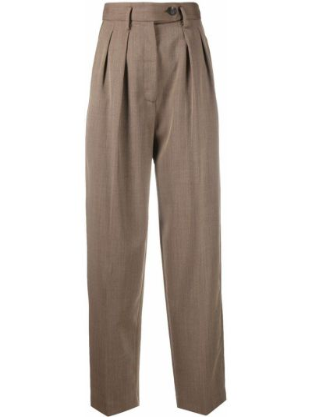 Брючные шерстяные коричневые брюки с поясом Tela