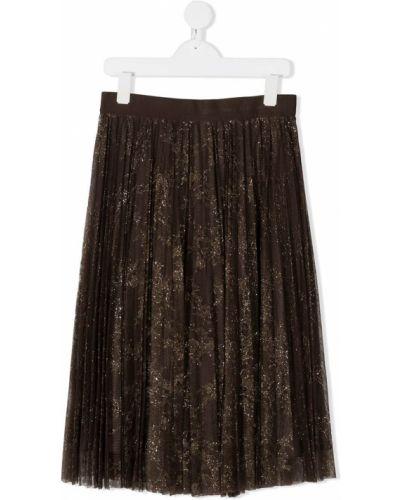 Коричневая плиссированная юбка с поясом Ermanno Scervino Junior