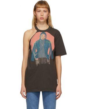 Черная рубашка с коротким рукавом с воротником с лебяжьим пухом с заплатками Telfar