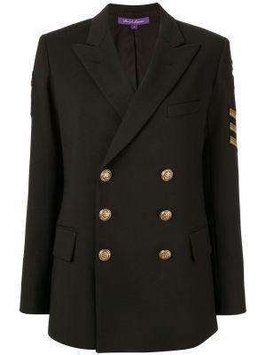 Шерстяной черный пиджак двубортный Ralph Lauren Collection
