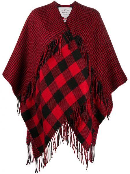 Красное акриловое пальто с бахромой с лацканами Woolrich