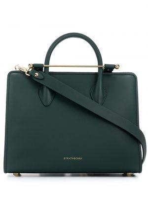 Zielona torba na ramię skórzana Strathberry