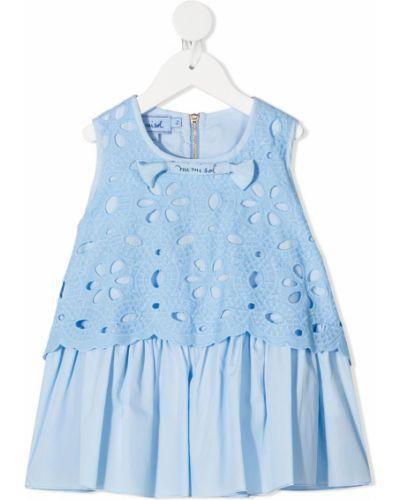 Синяя блузка без рукавов с вышивкой Mi Mi Sol