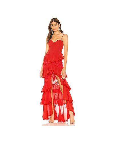 Вечернее платье на бретелях со вставками Majorelle