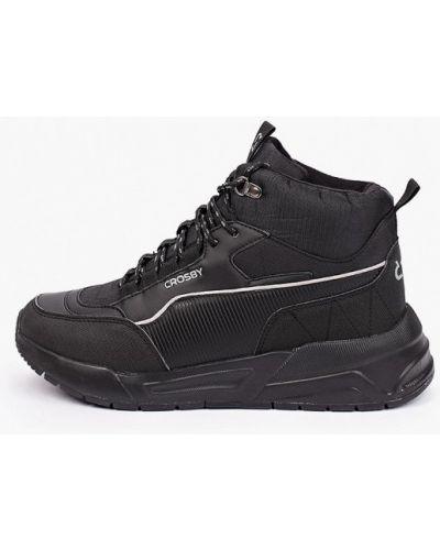 Кожаные высокие кроссовки - черные Crosby