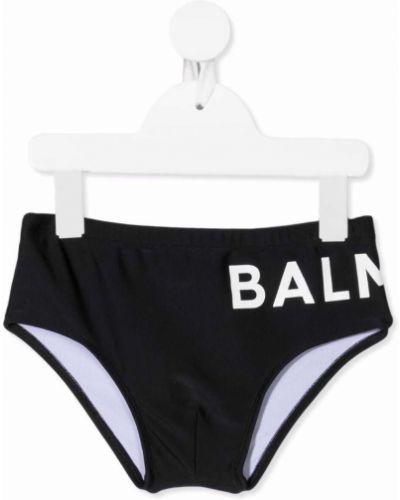 Białe kąpielówki z printem Balmain Kids