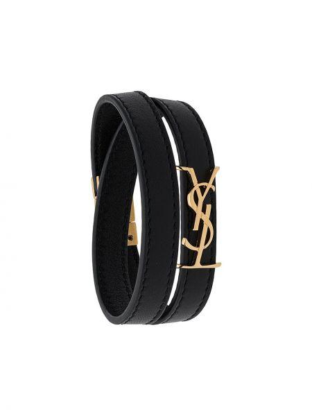 Кожаный браслет итальянский черный Saint Laurent