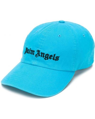 Niebieska czapka z haftem bawełniana Palm Angels