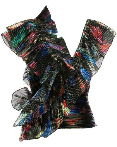 Черная блузка без рукавов с оборками Vionnet