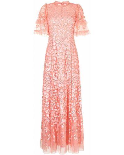 Розовое платье мини с короткими рукавами с оборками Needle & Thread