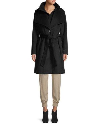 Шерстяное черное длинное пальто с воротником Soia & Kyo
