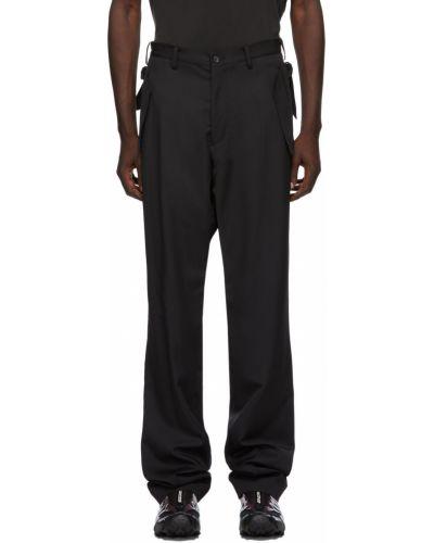 Czarne spodnie z paskiem srebrne Sulvam
