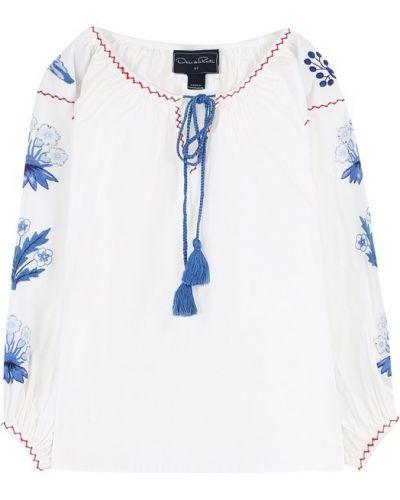 Блузка с вышивкой из поплина Oscar De La Renta
