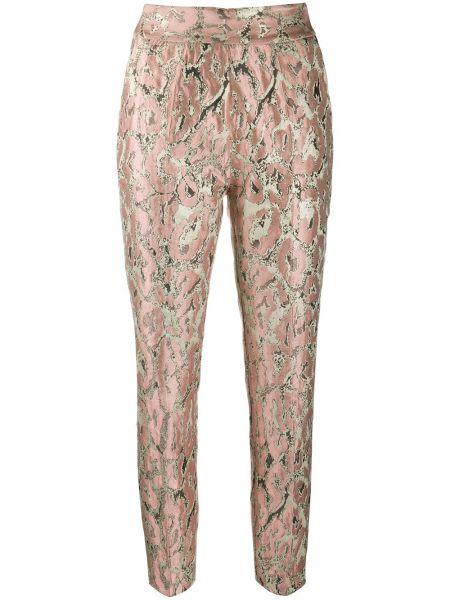 Розовые брюки узкого кроя из вискозы на молнии Christian Pellizzari