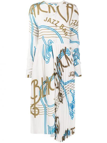 Шелковое белое платье миди с длинными рукавами Dorothee Schumacher