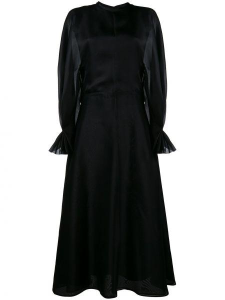 Шелковое черное платье с длинными рукавами Emilia Wickstead