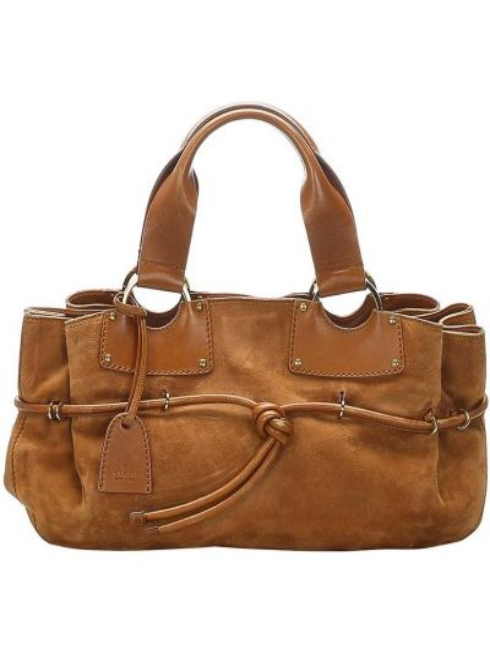 Золотистая кожаная коричневая сумка-тоут с завязками Gucci Pre-owned