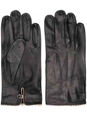 Klasyczny czarny skórzany rękawiczki z cięciem z prawdziwej skóry Paul Smith