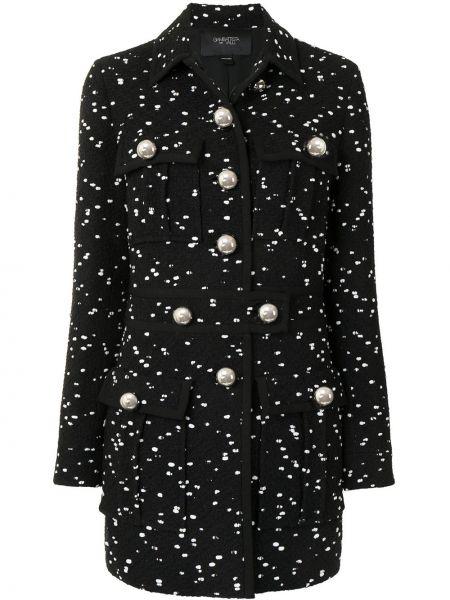 Черное пальто классическое букле с воротником Giambattista Valli