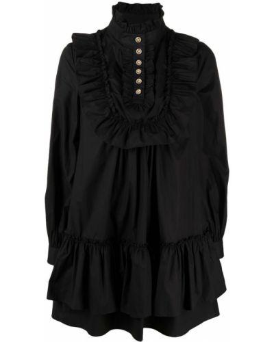 Czarna sukienka długa z długimi rękawami bawełniana Edward Achour Paris