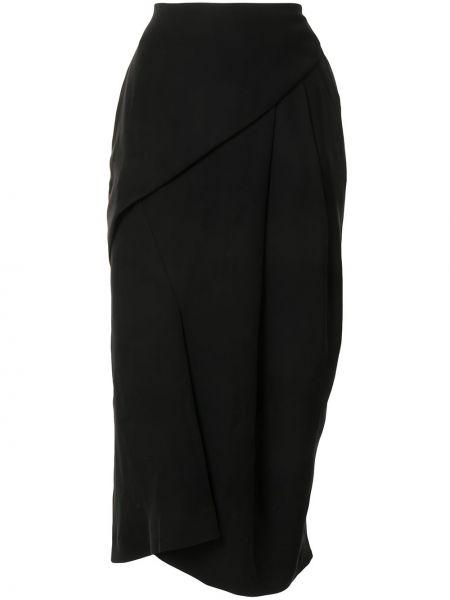 Czarny z wysokim stanem spódnica midi z draperią Enfold