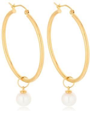 Żółte złote kolczyki sztyfty perły Mateo Ny