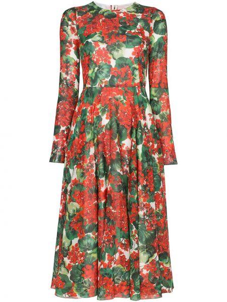 Платье миди с цветочным принтом классическое Dolce & Gabbana