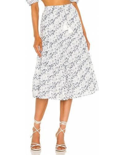 Biała spódnica midi bawełniana z printem Cleobella