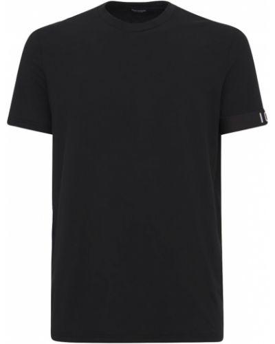 Czarny t-shirt bawełniany z printem Dsquared2 Underwear