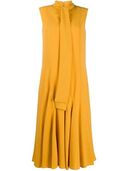 Желтое расклешенное платье миди с бантом без рукавов Mulberry