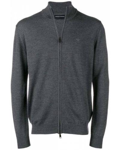 Szary wełniany długi sweter z kołnierzem Emporio Armani
