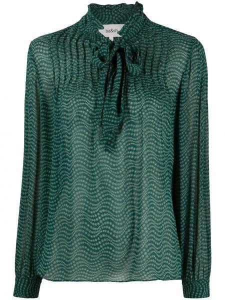 Зеленая с рукавами блузка из вискозы Ba&sh