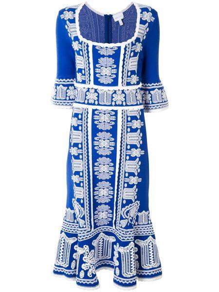 Белое нейлоновое платье миди с вышивкой квадратное Alice Mccall