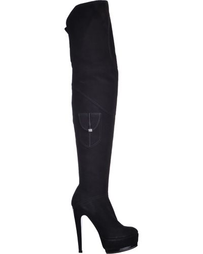 Ботфорты на каблуке замшевые черные Braude