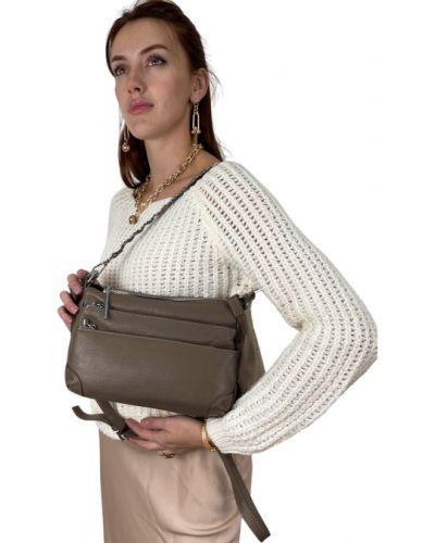 Кожаная сумка через плечо - серая Polina & Eiterou