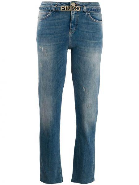 Niebieskie jeansy bawełniane z paskiem Pinko