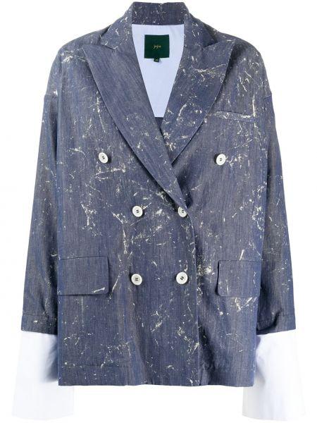 Синий удлиненный пиджак двубортный на пуговицах Jejia