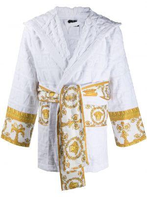 Biały długi szlafrok bawełniany z kapturem Versace