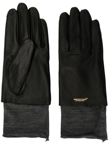 Czarne rękawiczki wełniane z haftem Undercover