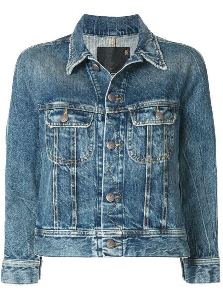 Хлопковая синяя джинсовая куртка с воротником R13