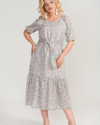 Летнее платье миди с поясом марита