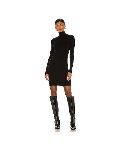 Кашемировое черное платье в рубчик Enza Costa