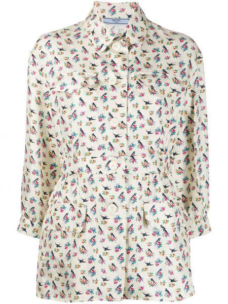 Koszula z paskiem z jedwabiu w kwiaty Prada